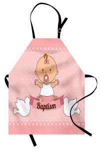 Emzikli Kız Bebek Desenli Mutfak Önlüğü Vaftiz Temalı