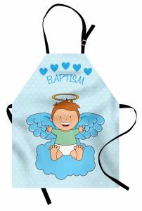Melek Bebek ve Bulut Desenli Mutfak Önlüğü Vaftiz