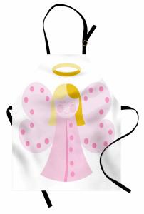 Kelebek Kanatlı Melek Kız Desenli Mutfak Önlüğü Pembe