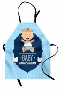 Erkek Bebek Vaftiz Töreni Temalı Mutfak Önlüğü Mavi
