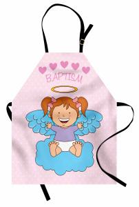 Bebek Melek ve Bulut Desenli Mutfak Önlüğü Pembe Mavi