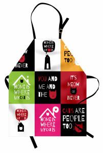 Kedi Sözleri Desenli Mutfak Önlüğü Geometrik Şık