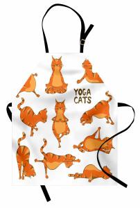 Yogacı Kediler Desenli Mutfak Önlüğü Turuncu Dekoratif