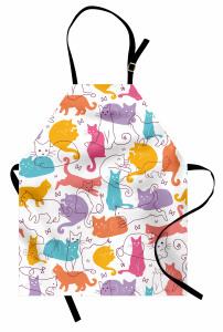 Rengarenk Kediler Mutfak Önlüğü Şık Tasarım Trend