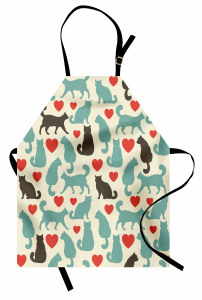 Aşk Kedileri Desenli Mutfak Önlüğü Romantik Şık