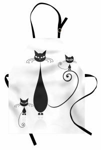 Siyah Kedi ve Yavruları Mutfak Önlüğü Şık Tasarım
