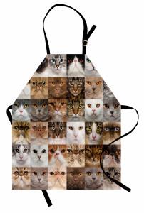Kedi Yüzleri Desenli Mutfak Önlüğü Kahverengi Beyaz