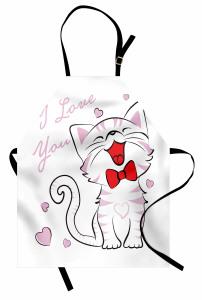 Aşık Kedi Desenli Mutfak Önlüğü Pembe Kalp Romantik