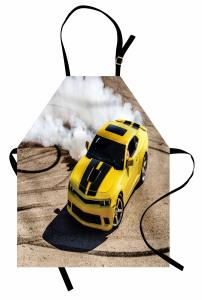 Sarı Yarış Arabası Temalı Mutfak Önlüğü Motor Sporları