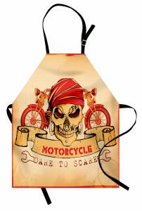Kuru Kafa ve Motosiklet Desenli Mutfak Önlüğü Kırmızı