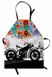 Retro Motosiklet Desenli Mutfak Önlüğü Rengarenk