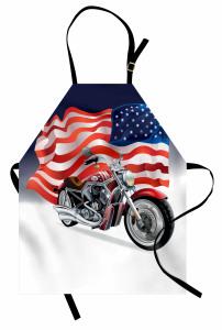 Motosiklet ve ABD Bayrağı Desenli Mutfak Önlüğü