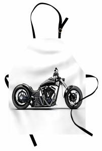 Siyah Motosiklet Desenli Mutfak Önlüğü Beyaz Zemin