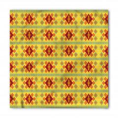 Sarı Geometrik Desenli Bandana Fular