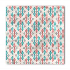 Kırmızı Mavi Geometrik Bandana Fular