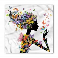 Kelebekli Kız Desenli Bandana Fular