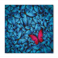 Mavi ve Kırmızı Kelebek Desenli Bandana Fular
