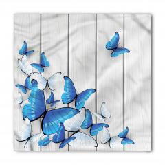 Mavi ve Beyaz Kelebek Desenli Bandana Fular