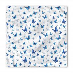 Mavi Beyaz Kelebek Desenli Bandana Fular