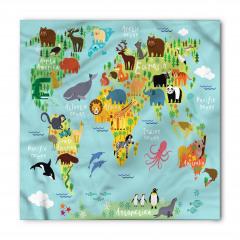 Hayvan Haritası Desenli Bandana Fular