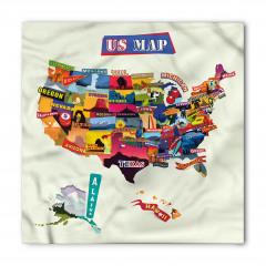 Rengarenk ABD Haritası Bandana Fular