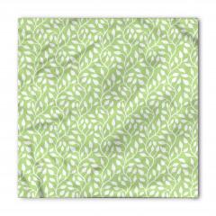 Yeşil Yaprak Desenli Bandana Fular