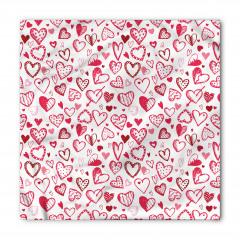 Pembe Kalp ve Ok Desenli Bandana Fular