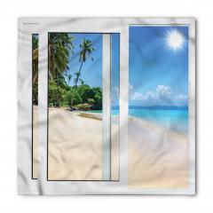Kumsalda Güneşli Bir Gün Temalı Bandana Fular