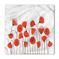 Gelincik Çiçeği Desenli Bandana Fular