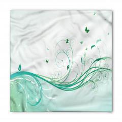 Yeşil Kelebek Desenli Bandana Fular
