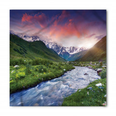 Nehir ve Karlı Dağlar Bandana Fular