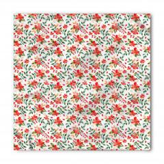 Kırmızı Çiçek Desenli Bandana Fular