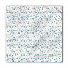 Mavi Çiçekli Bandana Fular