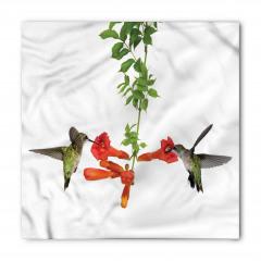 Kırmızı Çiçek ve Kuş Bandana Fular