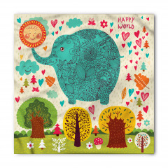 Rengarenk Fil ve Ağaç Bandana Fular