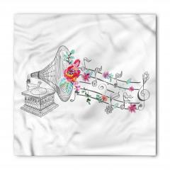 Gramofon Çiçek ve Nota Bandana Fular