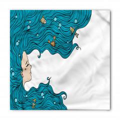 Mavi Saçlı Deniz Kızı Bandana Fular