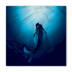 Mavi Deniz Kızı Desenli Bandana Fular