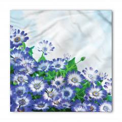 Mavi Çiçek ve Gökyüzü Bandana Fular