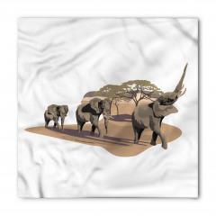Fil ve Ağaç Desenli Bandana Fular