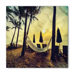 Plaj ve Hamak Desenli Bandana Fular