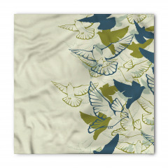 Yeşil Kuş Desenli Bandana Fular