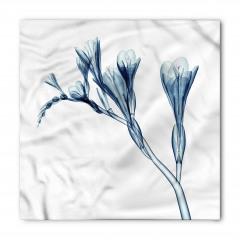 Mavi 3D Çiçek Desenli Bandana Fular