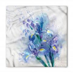 Sulu Boya Çiçek Desenli Bandana Fular