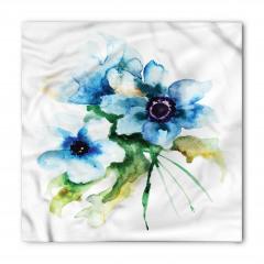 Mavi Çiçekler Desenli Bandana Fular