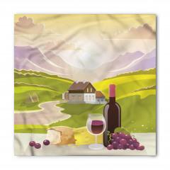 Şarap ve Dağ Manzaralı Bandana Fular