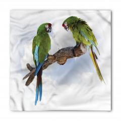 Yeşil Papağan Desenli Bandana Fular