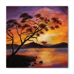 Ağaç Göl ve Dağ Desenli Bandana Fular