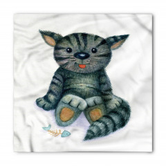 Sevimli Kedi Desenli Bandana Fular