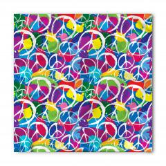 Rengarenk Barış Desenli Bandana Fular